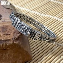100% real 925 pure silver New six-pointed star bolt bracelet for men Thai silver fashion jewelry hand-woven male silver bracelet(China)