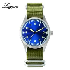 Image 2 - Lugyou San Martin Pilot นาฬิกาผู้ชายอัตโนมัติสแตนเลสกันน้ำ 20 ATM NH35 สีเขียวส่องสว่าง NATO ไนลอน Sapphire