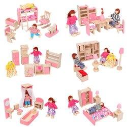 Деревянный изысканный кукольный домик, набор игрушек, имитация игровой мебели, игрушка, ролевые куклы
