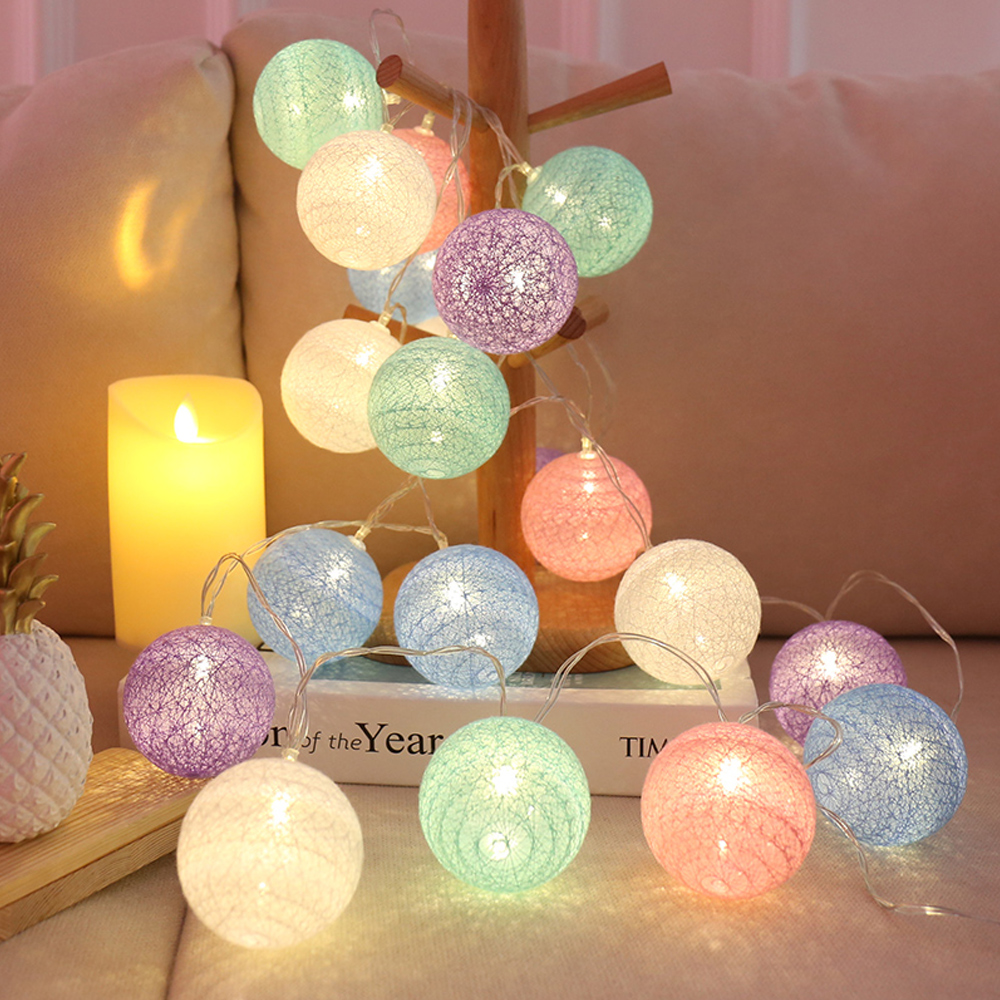 Junejour Fairy String Light Garland Light 3M LED Cotton Ball Lights Decoration Outdoor Holiday Wedding Christmas Party Bedroom