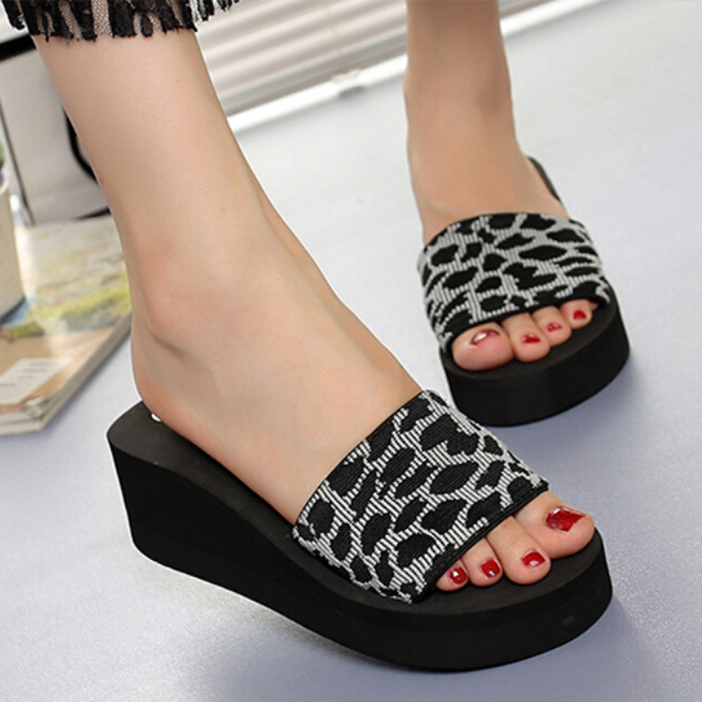 Slippers Summer Women Wedge Shoes Platform Bath Slippers Wedge Beach Slope Flops Slippers Shoes Zapatos De Mujer2020