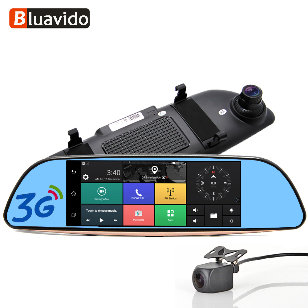 """Bluavido 7""""IPS 3G Android Car rearview mirror DVR GPS Navigation full hd 1080P video Camera recorder WiFi Bluetooth Car detector-in DVR/Dash Camera from Automobiles & Motorcycles"""