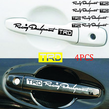 4pcs/set TRD Car Door Handle Reflective Car Stickers Personality Character Decoration Car styling Door handle Decal(China)
