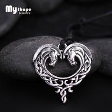 My shape – collier fantaisie en forme de cœur de cheval celtique pour femme, pendentif en argent plaqué Antique, animal, cadeau pour maman