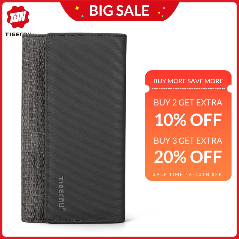 Tigernu Casual Man Long Wallet Male  Coin Multi Pockets Money DollarCard Holder Purses For Men Fashion Style Wallet Card Holder