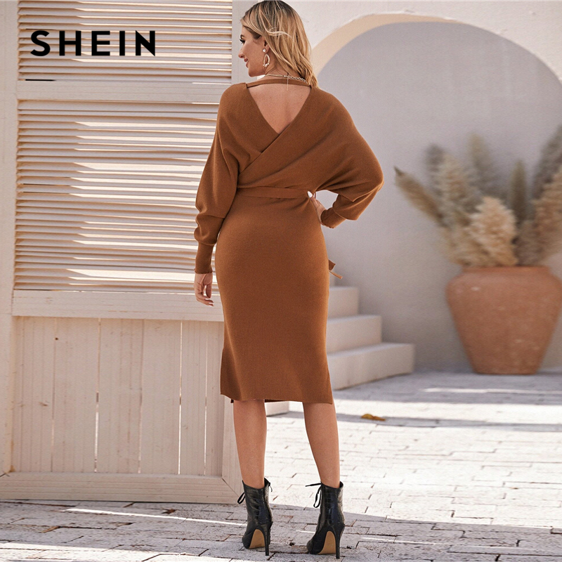 SHEIN Brown V Neck Cut Out Back Sweater Dress With Belt Women Spring Batwing Sleeve Solid WraP Front Stretchy Elegant Dresses 2