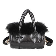 2019 winter new women bag 100% Fox hair fur Down bag space cotton bag shoulder Messenger bag luxury women designer handbag(China)