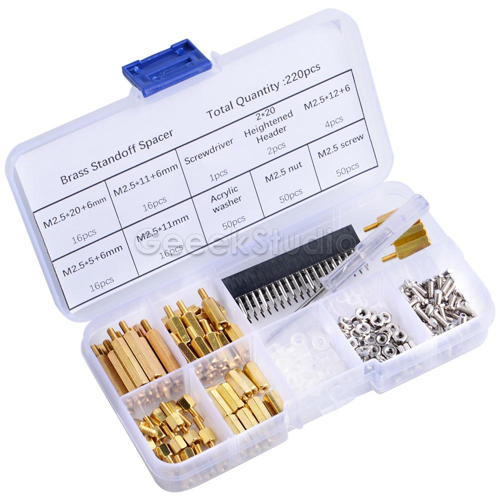 New Screws Kit 220pcs Waterproof M2.5 Hex Male-Female Standoff Screws Box Nut Kit Assortment Set For Raspberry Pi Spacer