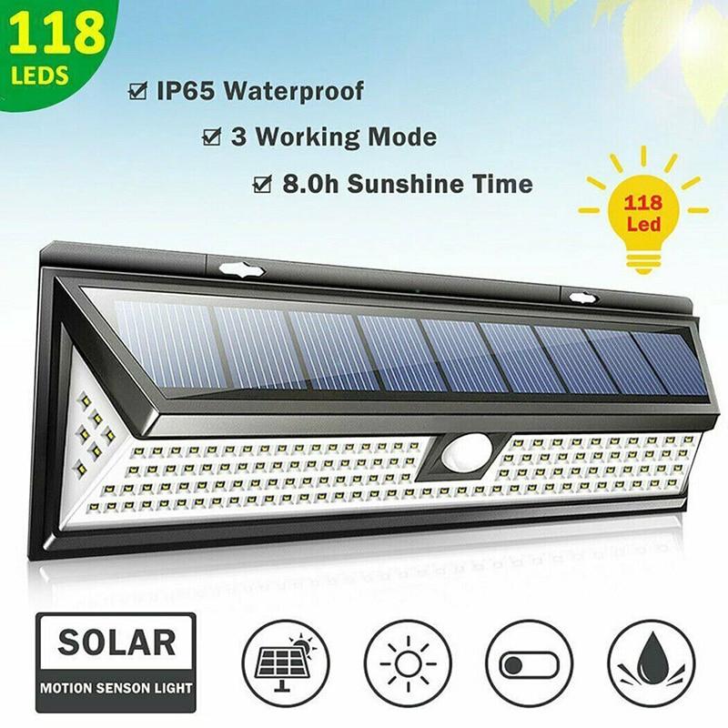34/118/180 LED Solar Light Outdoor Solar Lamp PIR Motion Sensor Solar Lamp Waterproof Infrared Sensor Garden Light