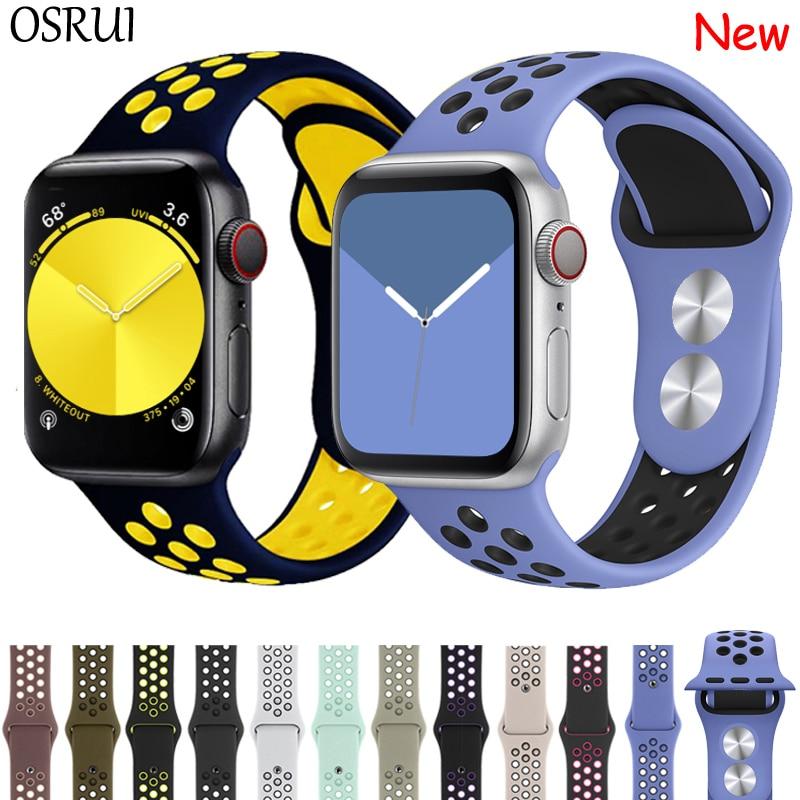 Купить с кэшбэком Strap for Apple watch band 42mm 38mm silicone correa iwatch 5 4 3 2 44mm 40mm sport bracelet pulseira apple watch 4 accessories