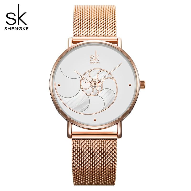 Shengke Women Fashion Quartz Watch Lady Mesh Watchband High Quality Casual Waterproof Wristwatch Gift For Wife 2019