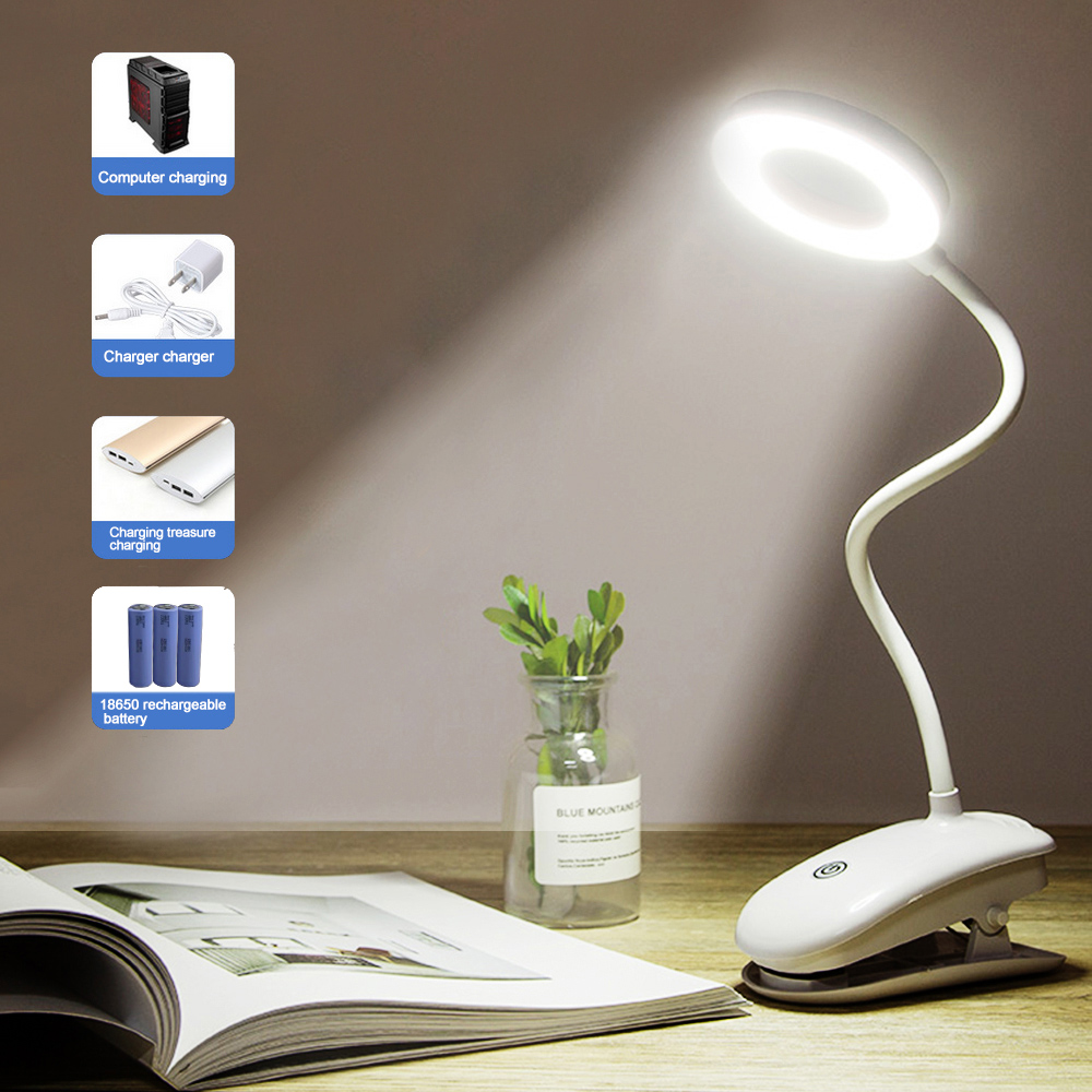 LED Desk Lamp Touch On/Off Switch Eye Protection With Clip Flexible Table Light 3 Modes Dimmable USB Rechargeable Desk Lights