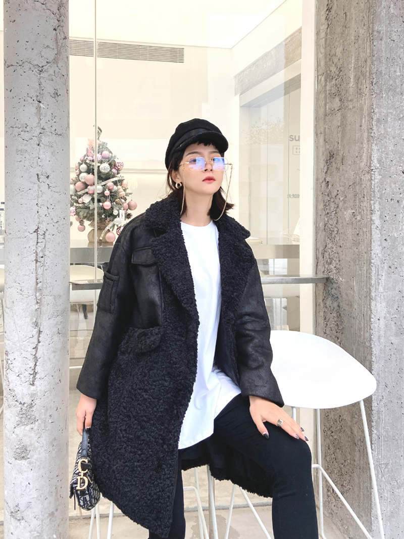 DBYCOOL Winter Suede Lambs Black Coat Women New Motorcycle Long Turn-down Collar Thick Sheepskin Fur Jacket Biker Coat Female