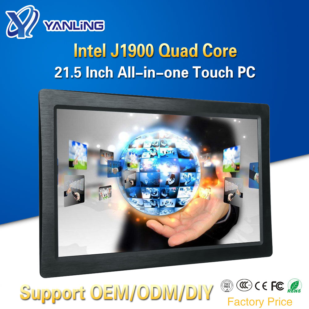 Yanling 21.5 Inch All-in-one Pc Intel J1900 Industrial Panel Computer With 1920x1080 Resistive Touch Screen IPS LCD Monitor