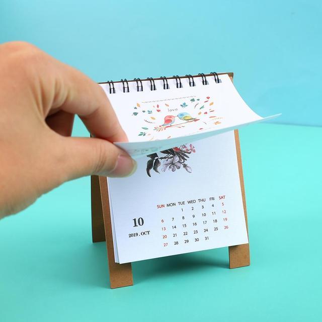 JIANWU 2019 2020 Cute Cartoon animal Mini Desk Calendar School Office planner kawaii agenda table calendar 3
