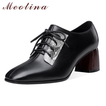 Meotina High Heels Women Pumps Natural Genuine Leather Thick High Heel Shoes Cow Leather Mixed Colors Square Toe Shoes Size 39