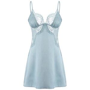 Image 5 - Женская летняя ночная рубашка, одежда для сна, домашняя одежда, шелковое атласное кружевное белье с ресницами на бретельках с открытой спиной, соблазнительное Сексуальное белье