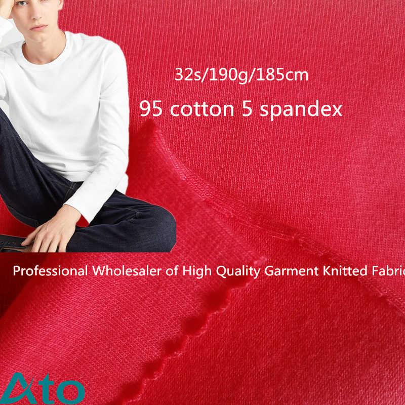 32 s/gsm190g/largura 185cm 95% algodão 5% elastano estiramento longo manga curta tecido roupa interior pele macio pulôver camisa malha tecidos