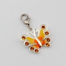 5pcs YELLOW Rhinestone Enamel Butterfly Floating Lobster Clasps Charm Beads Fit Bracelet DIY Jewelry  22x34mm A-508b