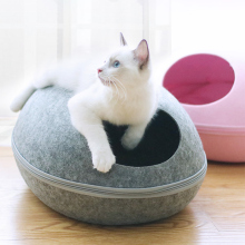 Cat House Nest With Zipper Detachable Cushion Dog Mat Egg Shape Dog Kennel Cat Bed Felt Clo