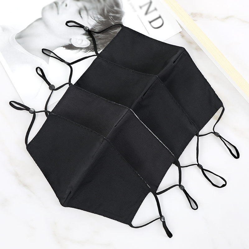 1PC Black Cotton Face Mask Black Breathable Mouth Mask Reusable Anti Pollution Face Shield Wind Proof Mouth Cover   Face Mask