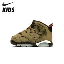 цена на Nike Air Jordan Kids Shoes Travis Scott X Air Jordan 6 Children's Shoes Aj6 Cq3565-200