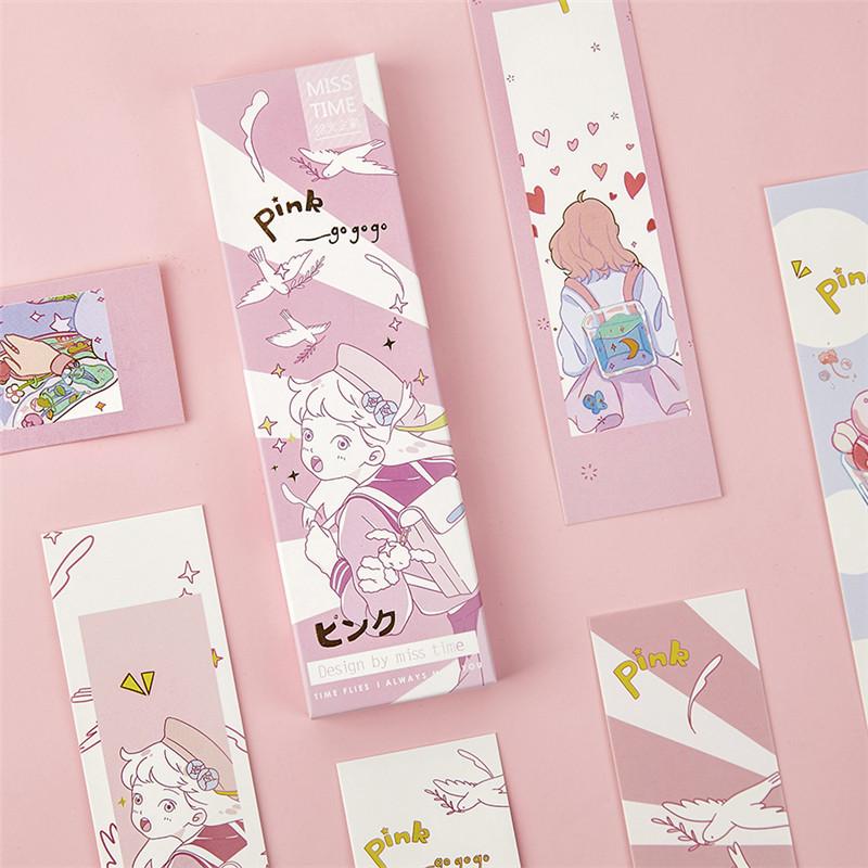 30 Pcs/Set Kawaii Japanese Style Pink Series Paper Bookmark DIY Cartoon Book Holder Message Card Gift Stationery