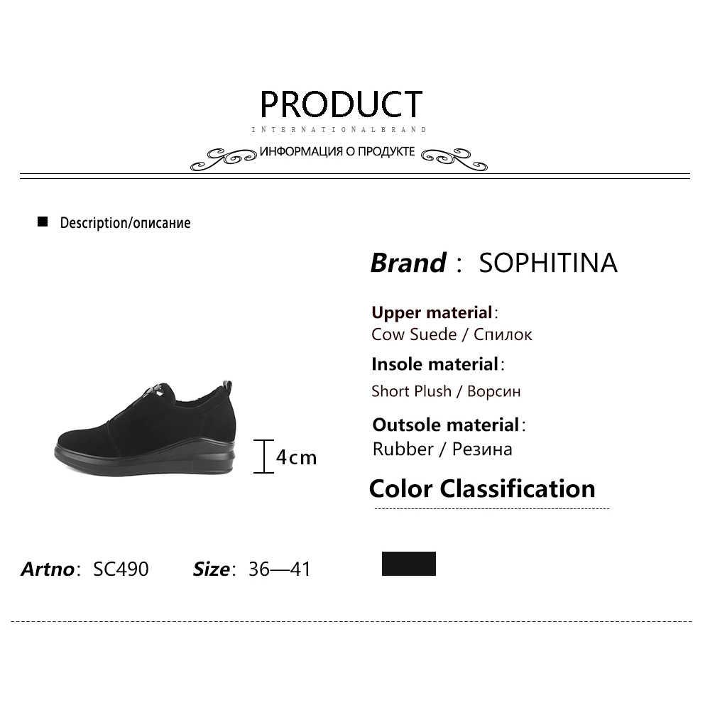 Sophitina Thời Trang Chắc Chắn Giày Chất Lượng Cao Kid Da Lộn Thiết Kế Đặc Biệt Thoải Mái Trang Trí Kim Loại Giày Mới Giày Bốt Nữ SC490