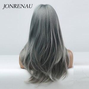 Image 4 - JONRENAU Cyan pelucas de cabello sintético degradado para mujer, pelo largo y liso, Color gris, con explosión, para Cosplay o fiesta
