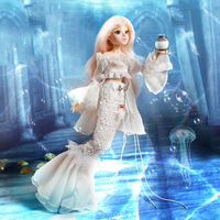 BJD Doll 14 Joint Doll 3D Eyes Bjd Plastic Doll 30cm Mermaid Dolls for Girls Toys Long Wig Hair Female Body Fashion Doll