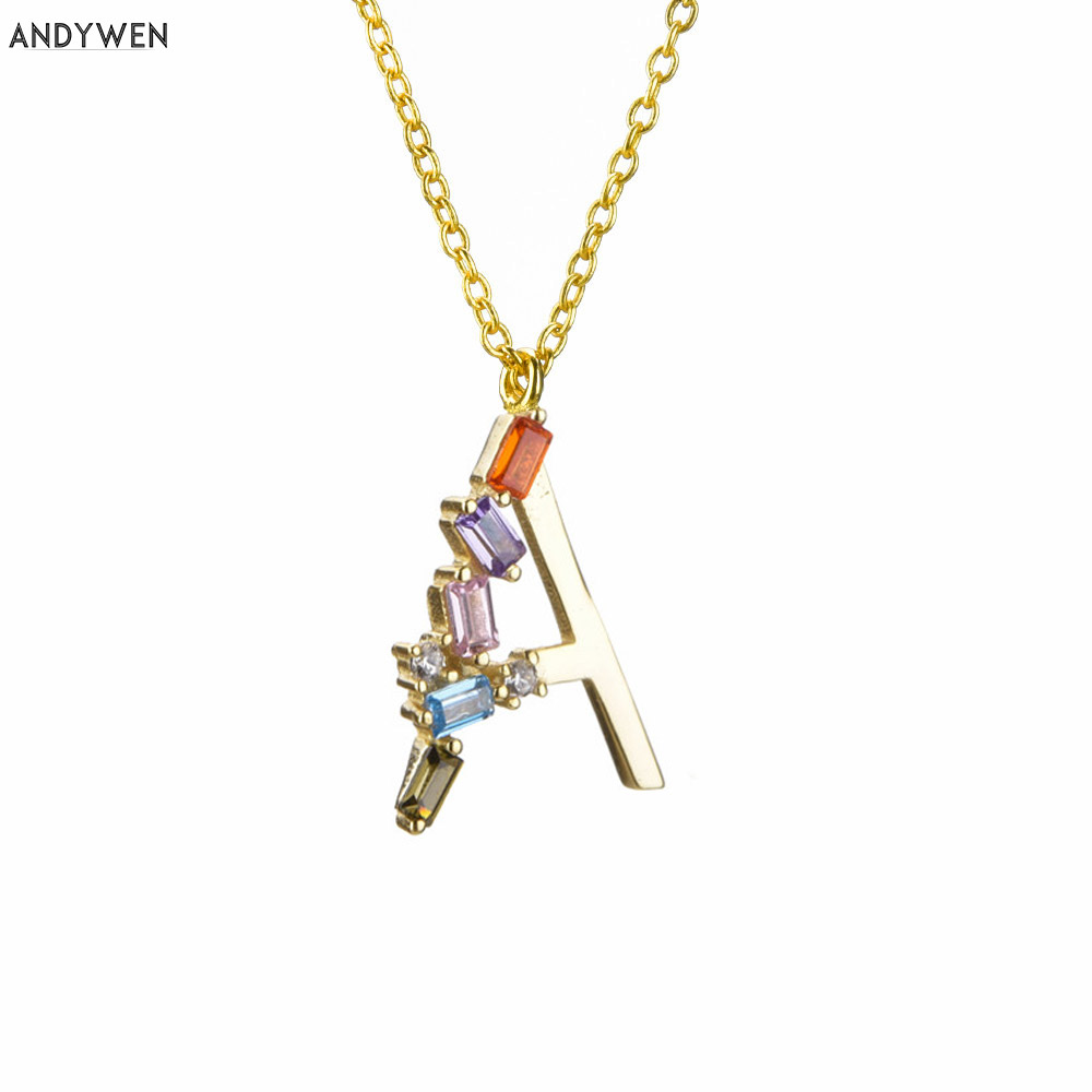 ANDYWEN 925 Sterling Silver Be Self Initial Letter 26 Alphabet Pendant Necklace Small Women Crystal CZ Zircon Special Jewelry