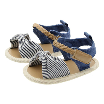 2020 Children Summer Shoes Newborn Infant Baby Girl Soft Crib Shoes Infants Anti-slip Sneaker Striped Bow Prewalker 0-18M - Model2-3, 0-6 Months