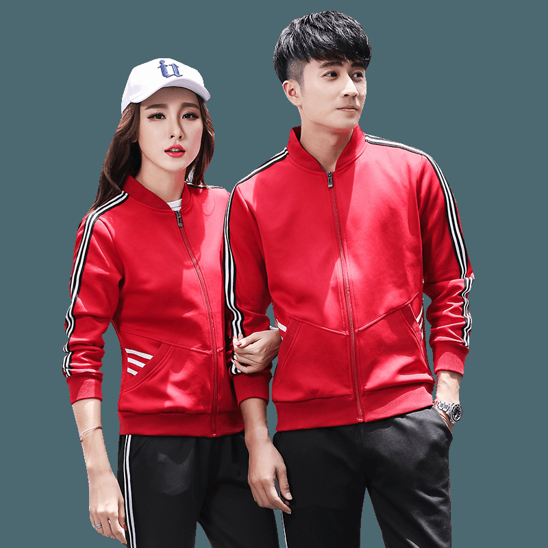 Spring And Autumn Sports Set Men And Women Couples Style South Korean Silk Not Balling Up Non-Fading Customized Sweater Sweatpan