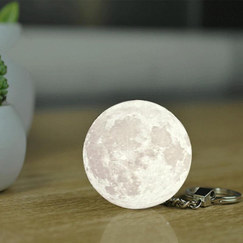 Portable Mini 3D Print Moon Light Creative Moon Night Lamp Bag Key Pendant Home Decoration Planet Night Light Keychain
