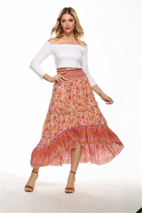 Image 5 - Jupe plissée pour Femme, style Hippie, imprimé floral, style Boho, Vintage, chic, style Boho, style Boho, taille haute, élastique, à volants, ligne a