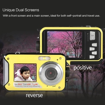 ABHU-Dual LCD 2.7 Inch HD 24MP 16X Digital Zoom 1080P 30FPS Waterproof Anti-Shake Selfie Digital Camera Camcorder