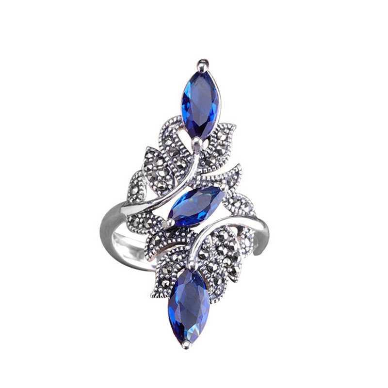 Europeu e americano moda senhoras azul cz pedra anel de cristal para mulheres casamento noivado festa anel jóias presente