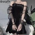 Gothic Kleidung Vestido De Mulher Mesh Sexy Sling Off Schulter Frau Kleid Elegante Vintage Schwarz Plissee Party Mini Kleid