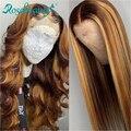 Pelucas de cabello humano sin pegamento Rosabeauty, peluca Frontal Remy recta brasileña predesplumada para mujeres negras, 26 pulgadas, ombre