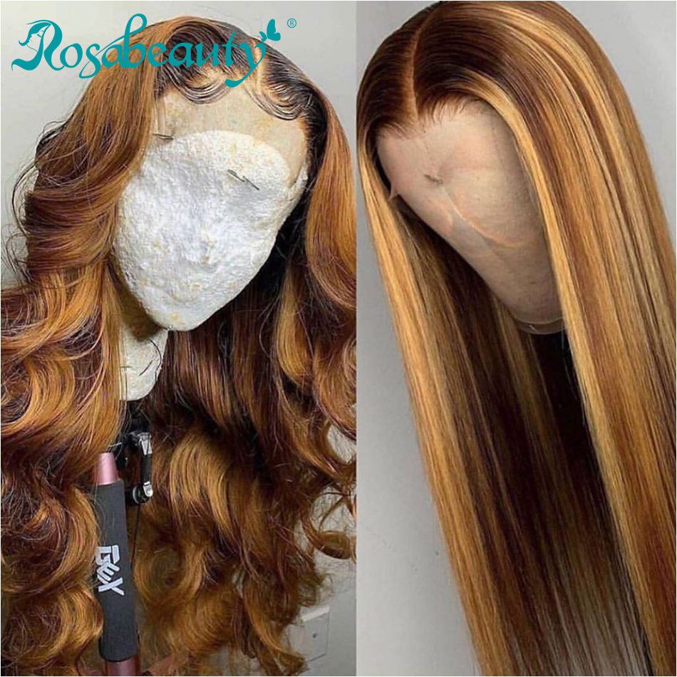 Rosabeauty Glueless Lace Front Human Hair Wigs Pre Plucked Brazilian Straight Remy Frontal Wig For Black Women 13x4 Ombre