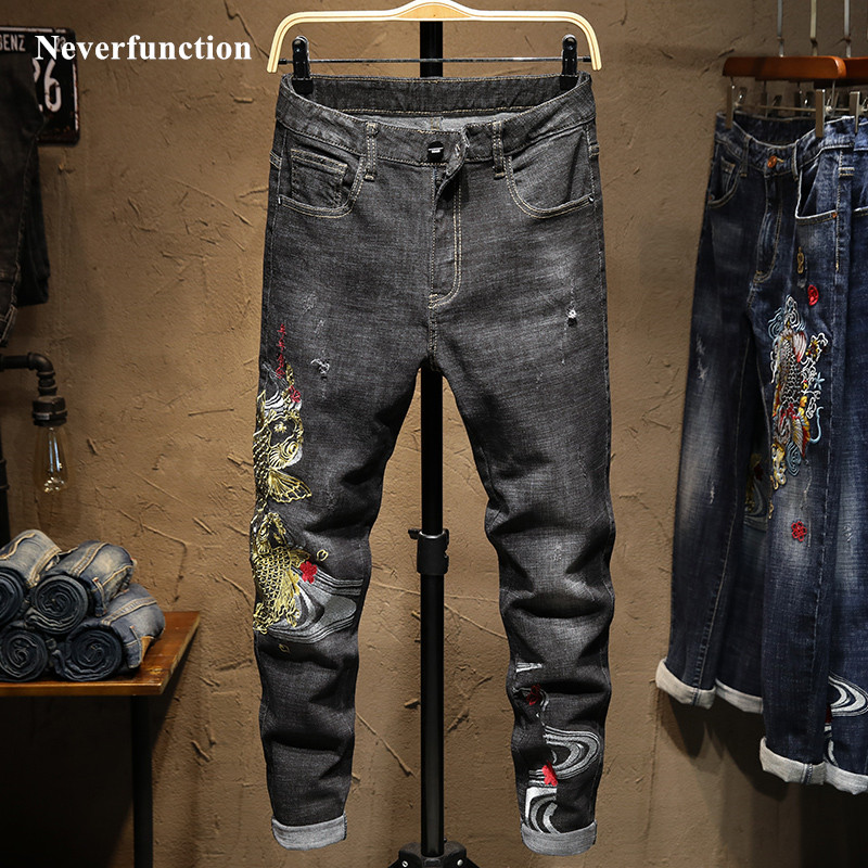 Streetwear Men Ripped Hip Hop Embroidery Stretch Slim Fit Jeans Pants Fashion Mens Casual Holes Cotton Joggers Denim Trousers