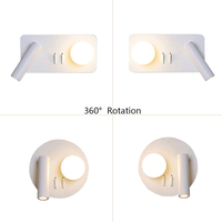 Modern Swing Arm Led Wall Lamp 360 Degree Rotation with Switch Reading Bedside Bedroom Flexible Wall Light Adjustable Wandlamp