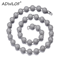 10mm Bead Ball Chain Necklace Iced Out Full Of AAA+ Cubic Zircon Long Chain Gold Silver Color For Men Women Hip Hop Jewelry