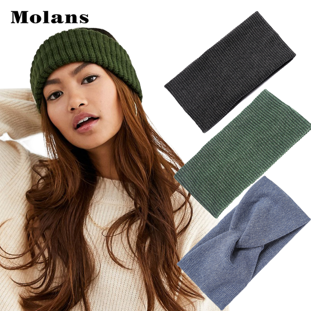 Molans Women Headband Solid Color Wide Turban Twist Knitted Cotton Hairband Spiral Double Girls Makeup Elastic Hair Bands Access