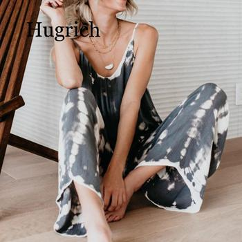Women Summer Loose Wide Legs Jumpsuit Sling Long Sleeveless High Waist Plus Size bodysuit Ladies Print O-neck Casual Rompers plus size plain loose wide legs jumpsuit