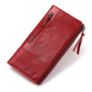 Image 1 - מפורסם מותג אמיתי עור נשים ארוך ארנק נשי רוכסן מהדק מטבע ארנק Walet גברת אופנה טלפון סלולרי כיס כסף תיק