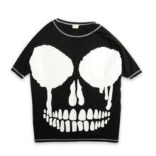 Foster a hip-hop loose bat sleeve batwing coat short T-shirt male tide rock skulls