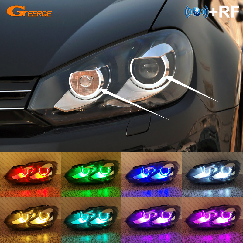 RF Remote Bluetooth APP Ultra Bright Multi-Color RGB Led Angel Eyes For VOLKSWAGEN VW GOLF GTI VI MK6 2008-2012 XENON HEADLIGHT