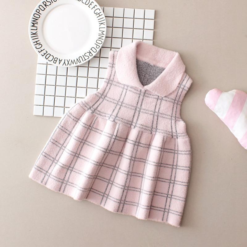 Autumn Clothing Girls Sleeveless Dress Sweater Meng Mink Cashmere Baby Plaid Princess Knitted Vest Skirt