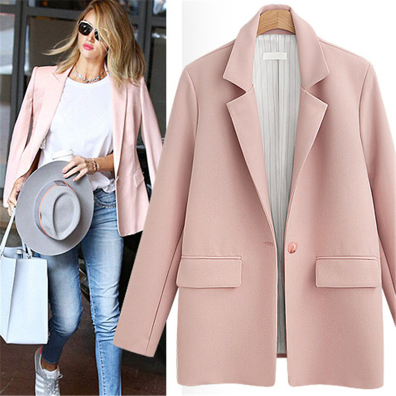Spring Autumn Elegant Pink Black Blazer Woman Casual Long Sleeve Fashion Ladies Blazers Suit Jackets For Women Blazer Feminino